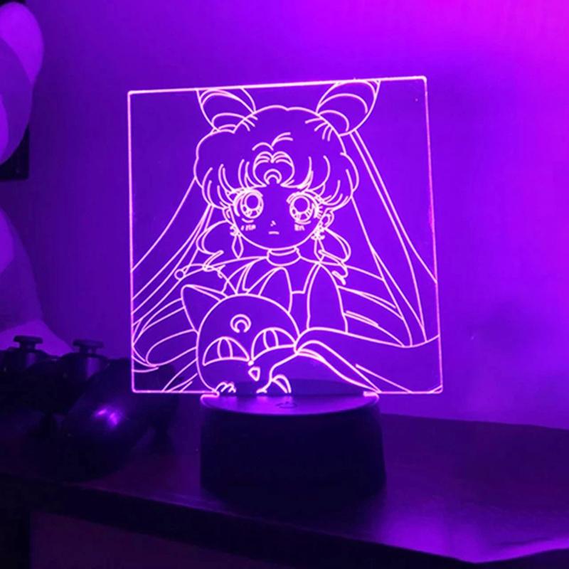 Sailor Moon Led Night Light for Girls Bedroom Decor Light Touch Sensor Rgb Colorful Nightlight Anime Characters Led Table Lamp