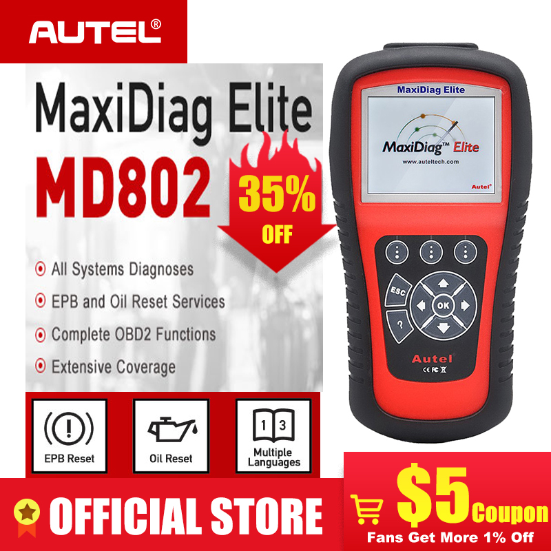 Autel MD802 OBD2 сканер EOBD сканирующий инструмент для передачи двигателя ABS подушка безопасности EPB масло Сервис Сброс код читателя диагностический инструмент on AliExpress - 11.11_Double 11_Singles' Day