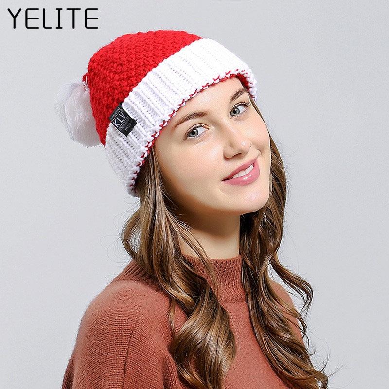 YELITE Christmas   Beanie   Winter Hats For Women Men Santa Claus Knit Hat Female Male   Skullies     Beanies   Warm Autumn Knitted Bonnet