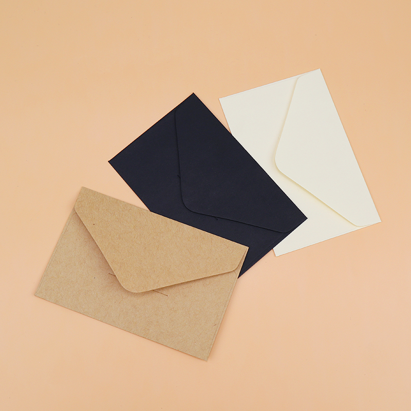 40PCS Classical White Black Kraft Blank Mini Paper Window Envelopes Wedding Invitation Envelope Gift Envelope
