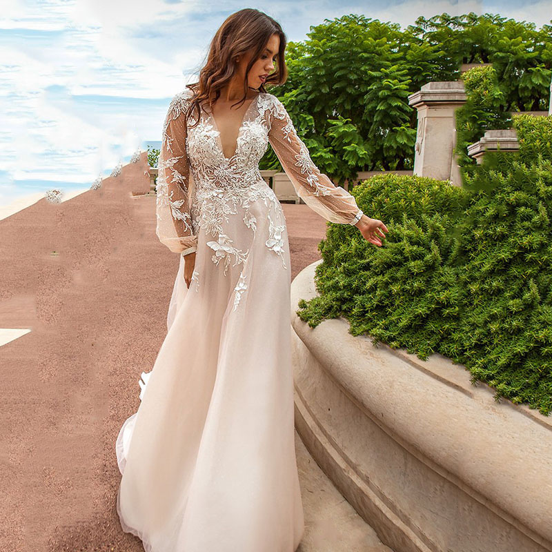 Eightree 2019 Flower Appliques Evening Dress Point Tulle Lantern Sleeve Prom Dresses A-line Evening Wedding Party Dress V Neck