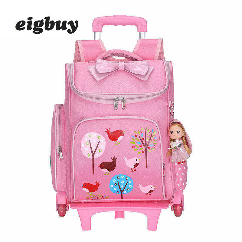 Animated Cartoons Trolley School Bags Preschool Backpacks For Children With Wheels 6 Boys Backpack Carriage School Bag For Girls