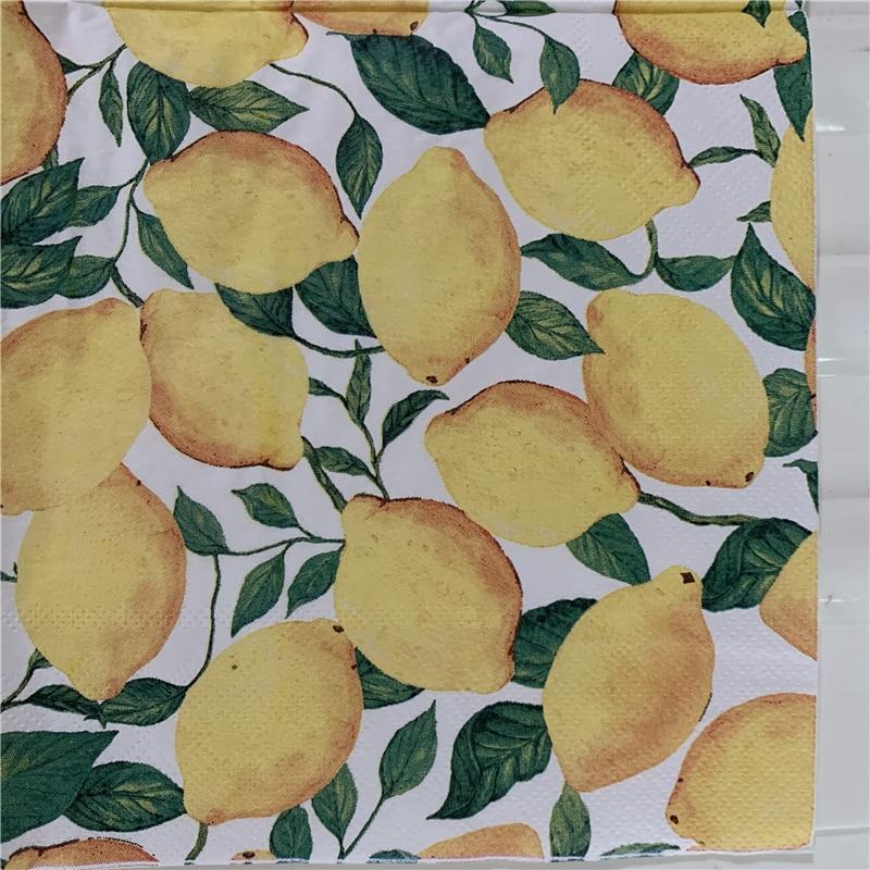Decoupage Wedding Vintage Serviettes Paper Napkins Elegant Tissue Yellow Lemon Birthday Handkerchief Party Beaut Towel Decor 20