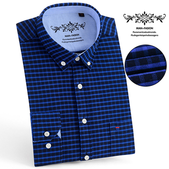 цены Aoliwen brand men Oxford Long Sleeve Shirt palid casual shirts cotton button down soft Comfortable high quality Printed shirt