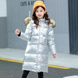Silber Mädchen Jungen Unten Jacke für Mädchen Mantel Kleidung Marke Winter Hohe Qulity Mit Kapuze Outwear Warme Kleinkind Kinder Winddicht Kleidung