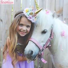 Staraise Unicorn Lace Flower Crown Headband Birthday Party Decoration Kids Favors Supplies Baby Shower