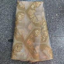 Altın fransız jakarlı dantel kumaş benzersiz afrika yaldız dantel kumaş brokar gelin malzeme nijeryalı düğün için parti KJK20134