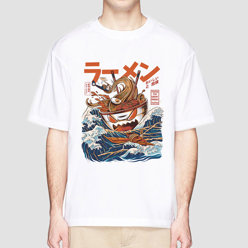 Summer Hip Hop T Shirts  Japanese Harajuku T-Shirt Men Noodle Ship Cartoon Streetwear Tshirts Short Sleeve Casual Top Cotton