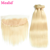 Mealid Remy 613 Blonde Straight Hair Bundles With Frontal Brazilian Hair Weave Bundles With Closure 100 Human Hair Extensions