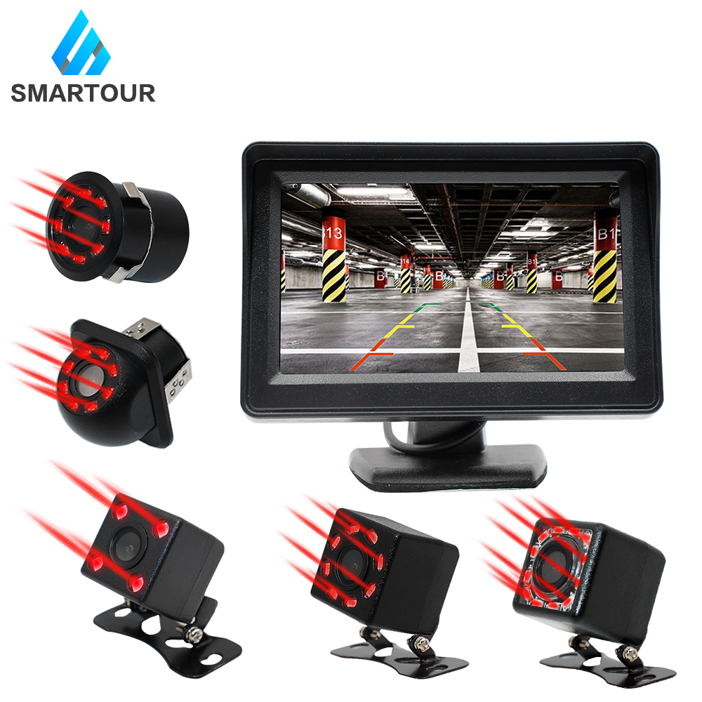 Smartour Car Rear View Camera Universal 8 LED Night Vision Backup Parking Reverse Reversing Camera Waterproof  HD Color Image