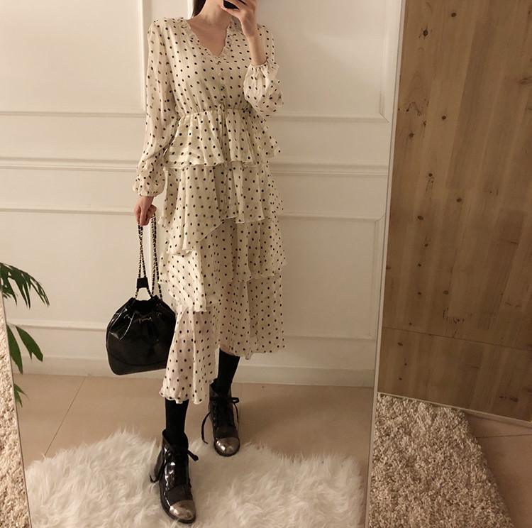 H4e7581d120db478ba806b11e2deda8465 - Autumn V-Neck Long Sleeves Satin Polka Dots Multi-Layers Midi Dress