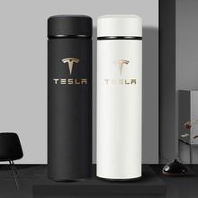 Bouteille Thermos intelligente de 500ml avec LOGO et affichage de la température, tasse Thermo Portable en acier inoxydable pour Tesla modèle 3 s x y dans la voiture