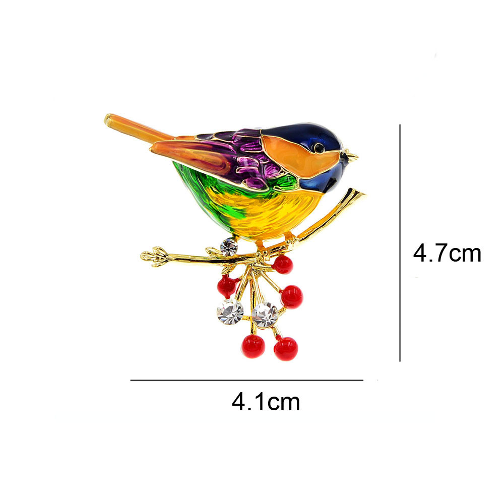 Cute Vivid Bird Brooches For Women Winter Animal Design Pin Branch Accessories CLOVER JEWELLERY