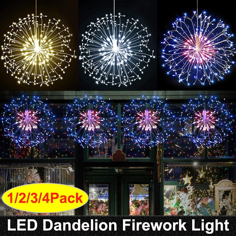 RC Firework LED String Lights Waterproof Copper Wire Fairy Light Hanging Starburst Twinkle Light Dandelion For Christma Home D30