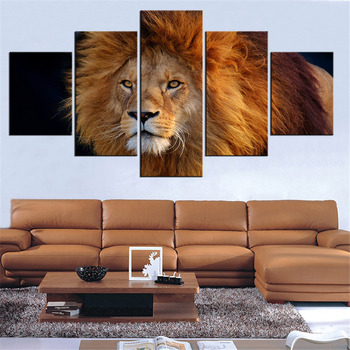 5 Pieces Panel Modern Canvas cool_lion Painting Wall Art The Picture For Home Decoration print Giclee Artwork For Wall Decor