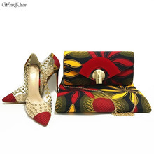 WENZHAN Best Match High Heel Shoes With Ankara Real Wax Print Fabric 6yards And Women Fashion Handbag For Lady 911 29