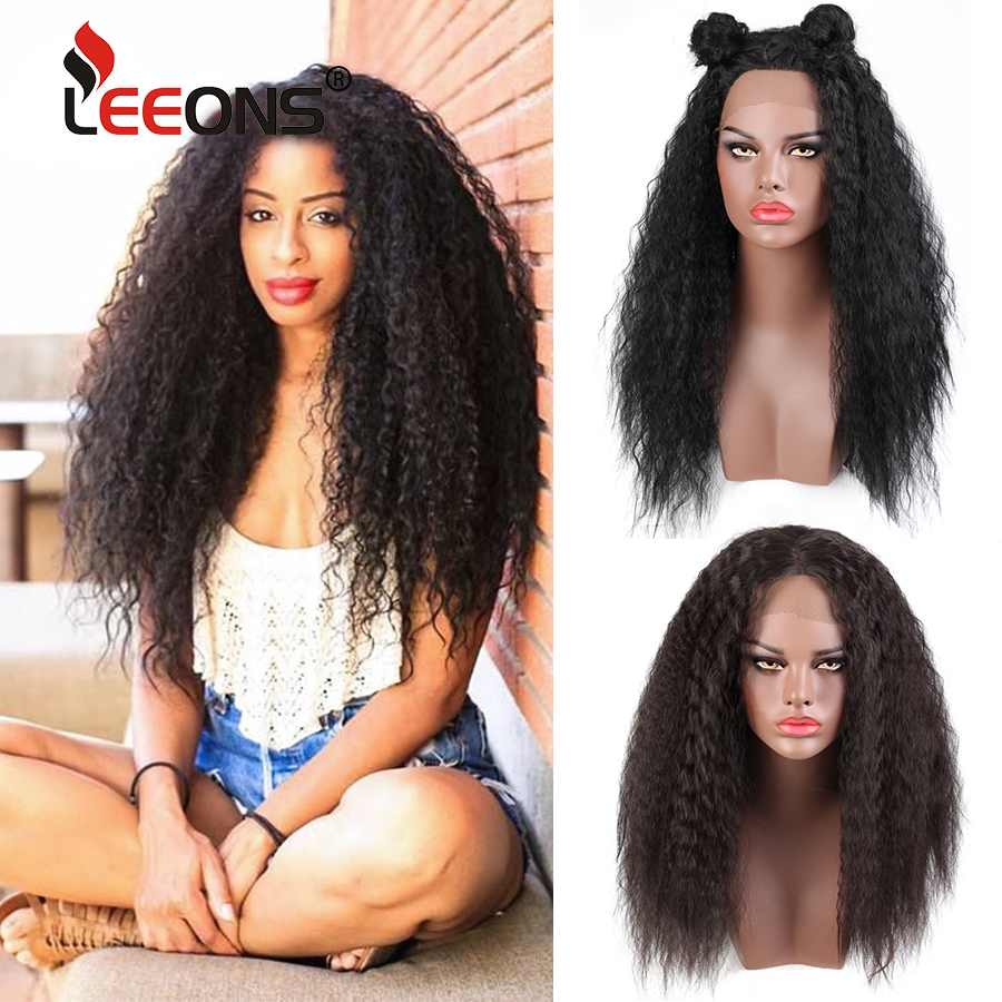 Leeons Female Kinky Straight Wig Synthetic Lace Front Wig Afro Wigs For America Women Heat Resistant False Hair