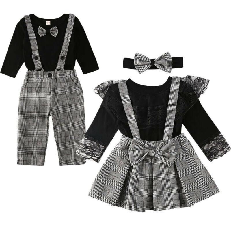 0-6Years Family Matching Clothes Formal Set Little Brother Romper Suspender Pants Big Sister Skirt Princess Party Outfits Set