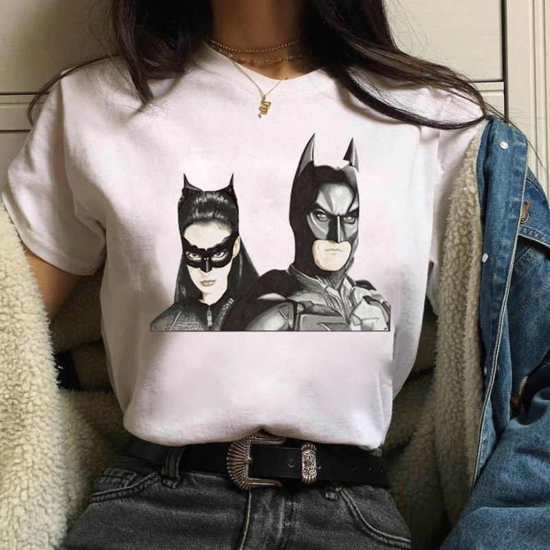 Lato topy Cartoon Batman i Catwoman T koszula kobiety Harajuku Kawaii T-shirt kobieta biały śmieszny T-shirt Femme Streetwear Tshirt