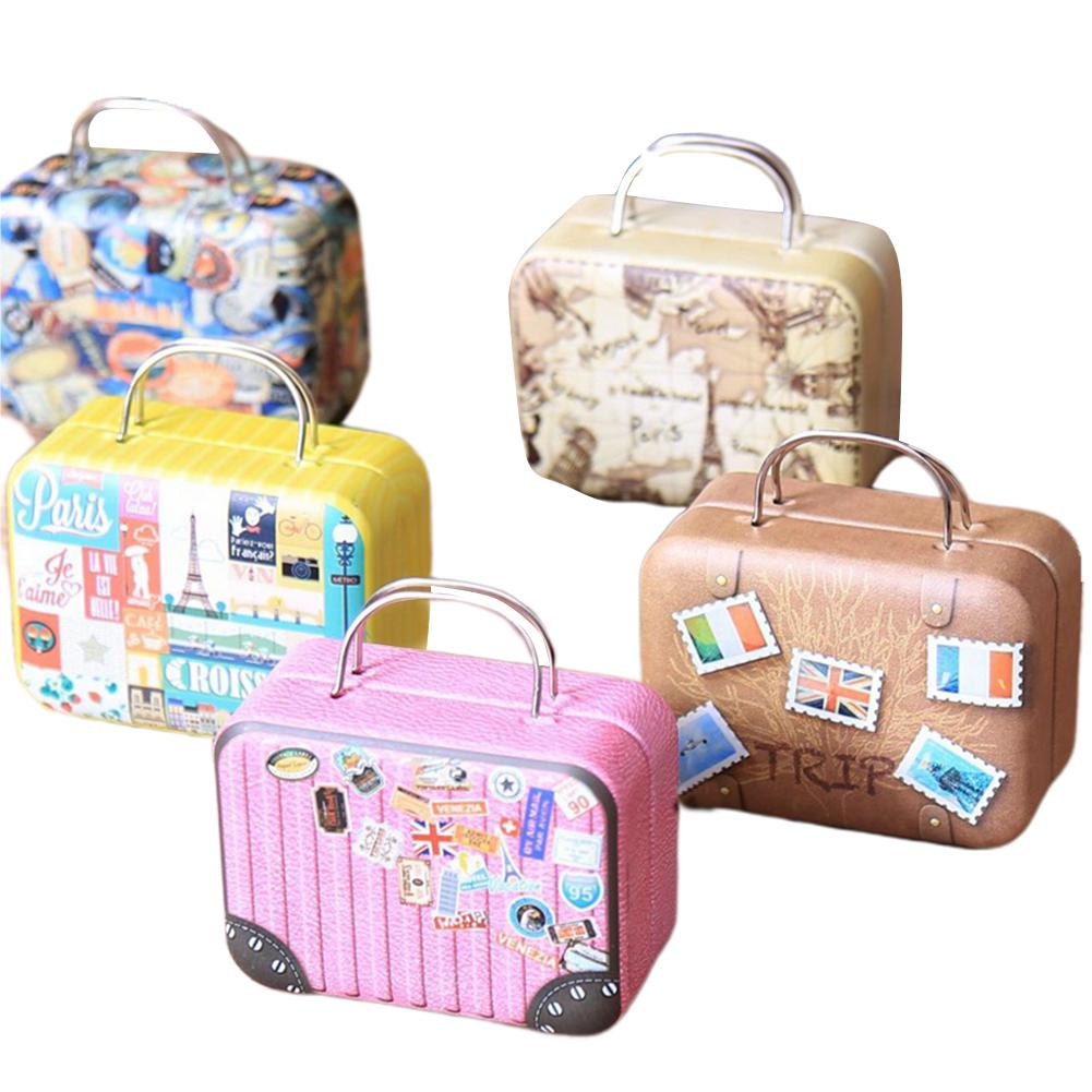 Kuulee Metal Suitcase Music Box As Creative Gifts Music Box Tinplate European Retro Leather Case Exquisite Pattern