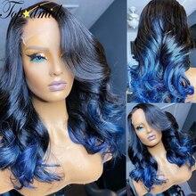Topodmido # 1B синий эффектом деграде (переход от темного к цветные индийские волосы Синтетические волосы на кружеве парики из натуральных волос ...