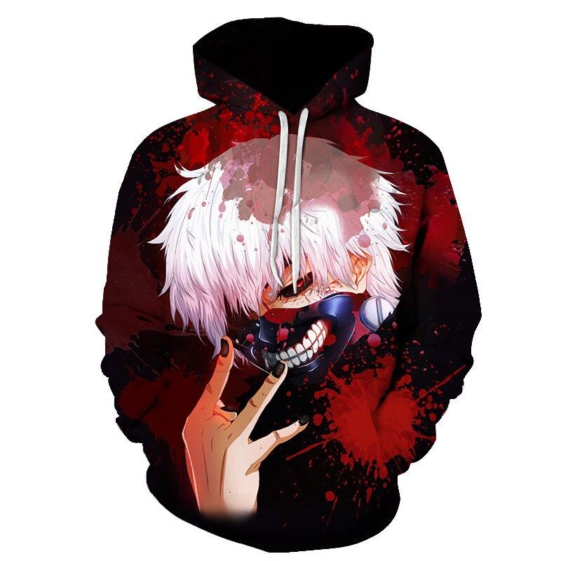 2019 New Hot Sale Tokyo Ghoul Hoodies Mens Hooded Pullovers Ken Kaneki Printed Male Hoody 3D Printing Hooded Sweatshirts