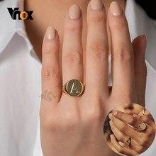 Vnox-anillo de acero inoxidable para mujer, joya personalizable, 14mm, brillante, redondo, minimalista, joyería personalizada