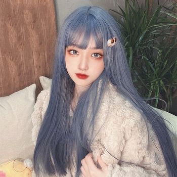 цена на MANWEI 60CM Lolita Long straight hair Bangs Cute Ombre Heat Resistant Party Synthetic Hair Cosplay Wig