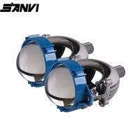 SANVI 3inch Triocolor Car Bi LED Projector Lens Headlight 4300K/5500k Auto projector headlamp H4 h7 9005 9006 Car Light Retrofit