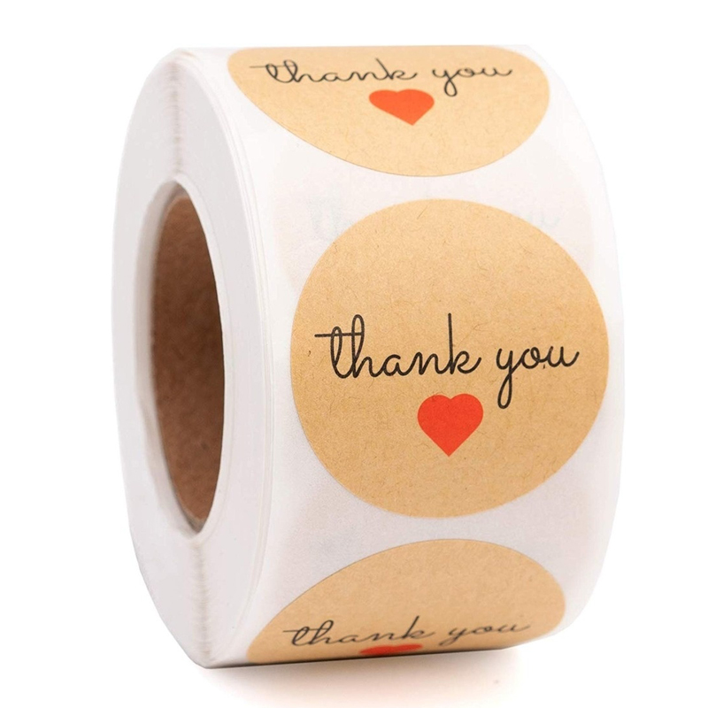 500pcs/roll Round Kraft Thank You With Red Heart Stickers Seal Labels Cakes Pastry Stickers Gift Packaging Stationery Sticker