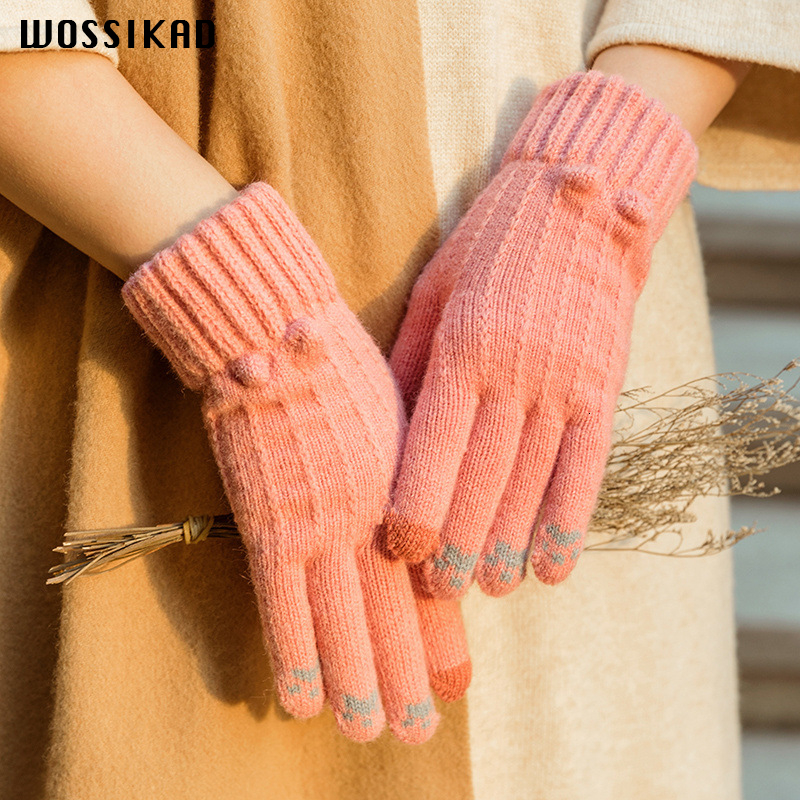 Gloves Women Touch Screen Driving Gloves Winter Knitting Peluche Hand Gloves Keep Warm Play Mobile Phone Ride Mittens Luvas