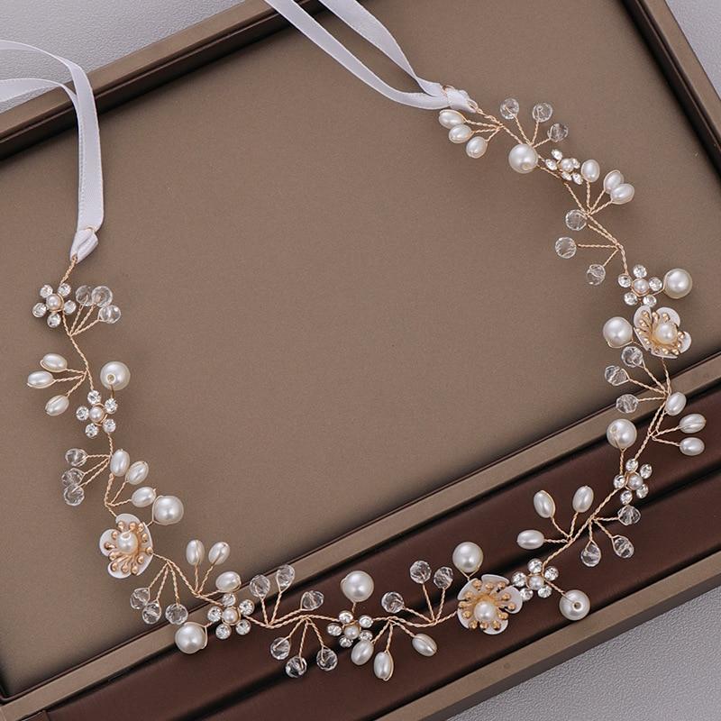 Wedding Headdress Accessories Handmade Flower Pearl Hair Band Headdress Flower Girl Hair Vine Dropshipping