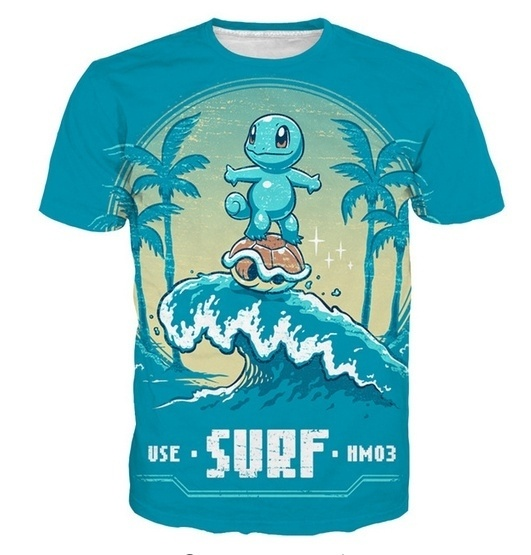 2020 New Fashion Women/Men Cartoon Pokemon Surf Squirtle Funny 3D Printed Casual T-Shirt Men Blue O-neck Tees Summer Clothing 2