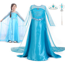 Halloween fashion children's clothing Elsa princess party cosplay costume long sleeved dress kids dresses for girls 2018 new arrive girls halloween dress handmade children costume clothing for 2 12 years kids birthday party princess dresses