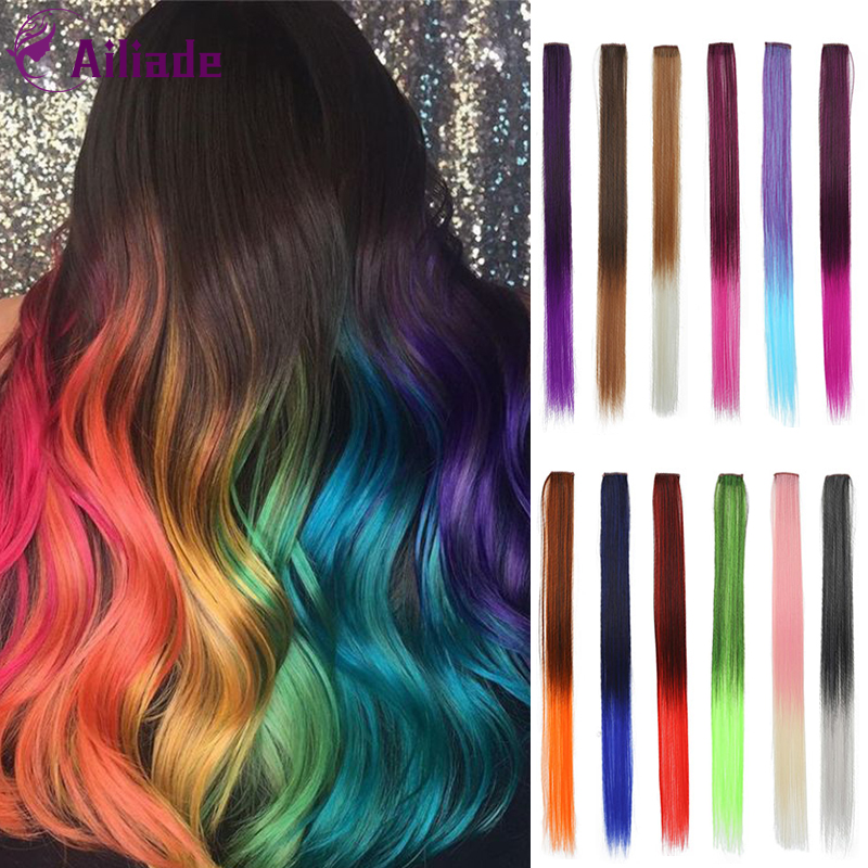 AILIADE Ombre Hair Extensions Clip-In One Piece Pure Color Straight Long Synthetic Hair Fake Hair Pieces Clip In 1/2 Tone Hair