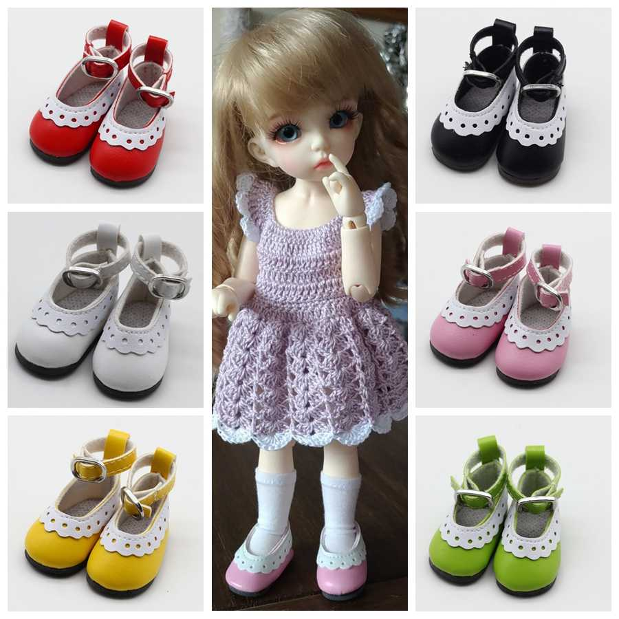 4.5*2.1cm PU Leather Lace Cute Doll Shoes  For 1/6 Doll Clothing Accessories Mini Toy Black Red Purple Blue Pink Shoes 8 Colors