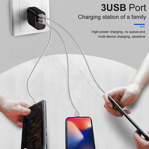 Image 4 - Baseus 3 Ports USB Ladegerät Schnell Lade 3,4 EINE Wand Ladegerät EU Stecker Mit Digital Display Reise Schnelle Ladegerät Für samsung Huawei
