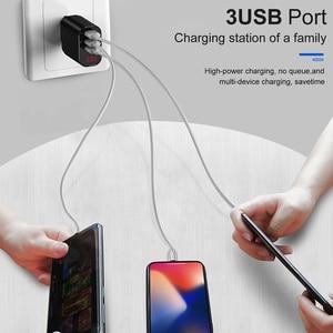 Image 4 - Baseus cargador USB 3.4A de pared con 3 puertos, cargador rápido de viaje con pantalla Digital, enchufe europeo, para Samsung, Huawei