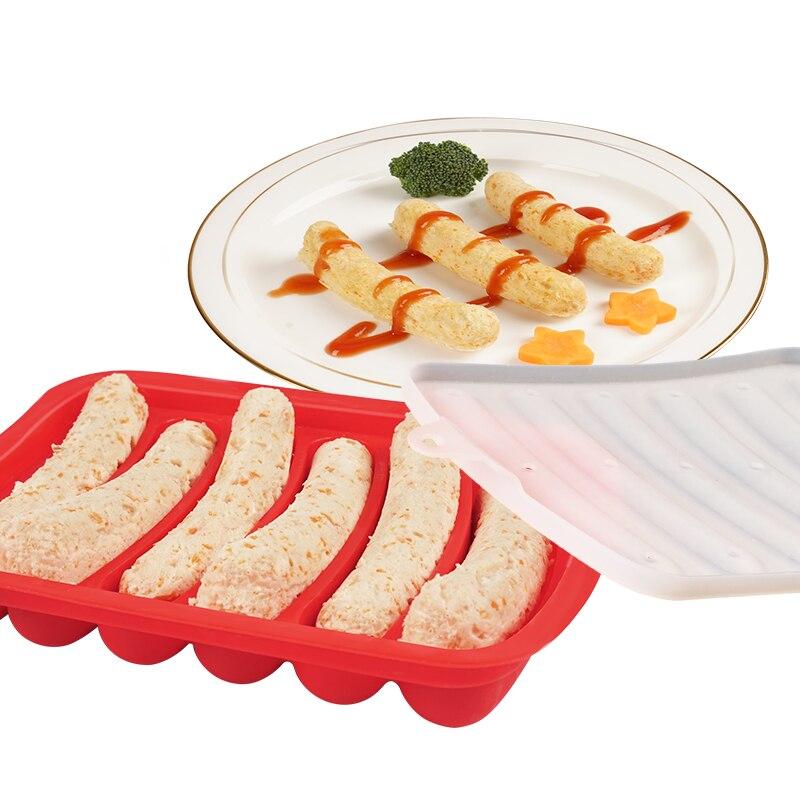Silicone Ham Hot Dog Burger Make Mould DIY Sausage Making Mould Baby Food Supplement Baking Tools Kitchen Props With 6 Grid