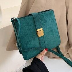 Camurça do vintage lady crossbody bag 2019 inverno Nova Moda de veludo Bolsa Bolsa de Ombro Ocasional Saco Do Mensageiro do Desenhador das Mulheres