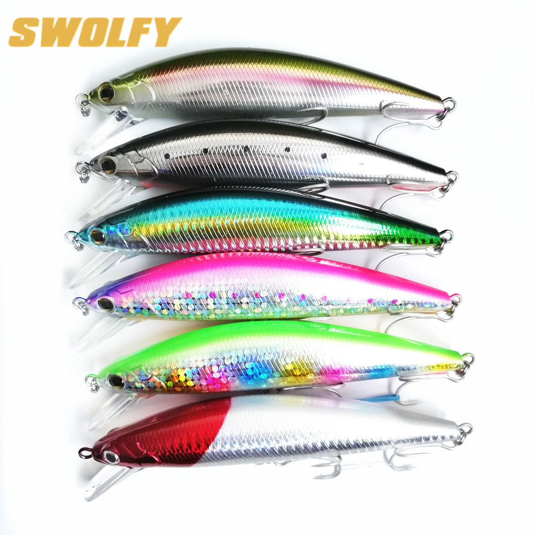 Swolfy 6pcs/lot minnow fishing lure 40g/12cm 60g/14cm 6 colors 3D Eyes sinking Artificial bait peche hard fishing lure