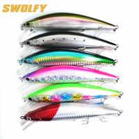 Swolfy 6 pz/lotto minnow lure di pesca 40g/12cm 60g/14cm 6 colori 3D Occhi sinking esche Artificiali peche duro richiamo di pesca