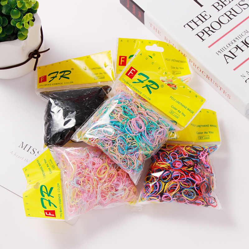 Mini faixas de cabelo descartáveis para crianças, acessório do cabelo, faixas elásticas coloridas para rabo de cavalo, meninas, 1000 unidades/pacote