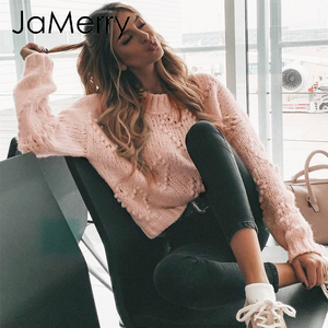 JaMerry Vintage pink hairball autumn winter sweaters ladies Long sleeve casual pullover 2019 Fashion chic loose knitted jumper(China)