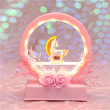 Kids Music Box Cartoon Unicorn LED Night Light Baby Nursery Lamps Home Decor Birthday Gift Present For Children Girlfriend