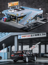 1/64 miniature model Japanese style model car toy scene  street view double garage parking lot toy gift box