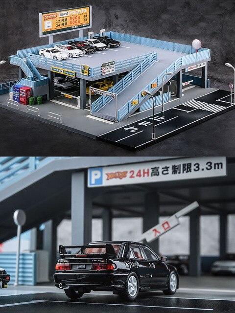 1/64 minyatür model japon tarzı model araba oyuncak sahne sokak görünümü çift garaj otopark oyuncak hediye kutusu