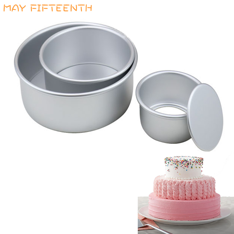 3 Tiered Round Cake Mold Set Aluminum Alloy Cake Pan Set Non Stick Baking Pans 4/6/8 inch Cakes Mould Removable Bottom       386-in Cake Molds from Home & Garden