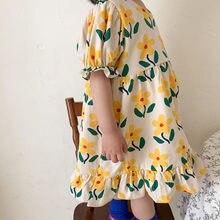 Milancel 2021 verão novas meninas roupas com decote em v floral plissado vestido a linha vestidos crianças outwears