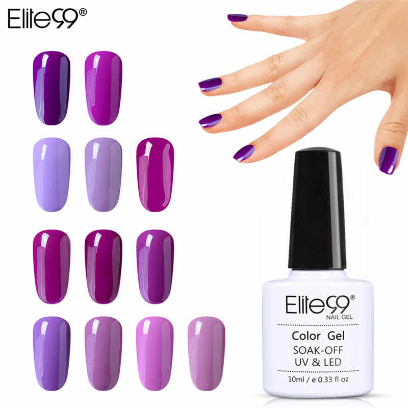 Elite99 10ML Del Gel Del Chiodo Viola Colori di Moda UV Del Gel Del Chiodo Si Impregna fuori Vernish Semi Permanente Del Chiodo Del LED Smalto lacca Gelpolish